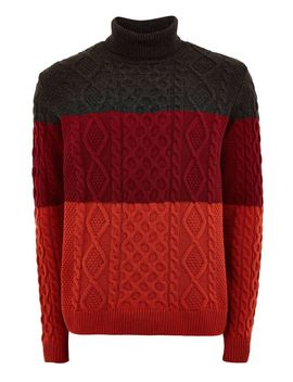 Grey And Red Block Roll Neck Jumper by Topman