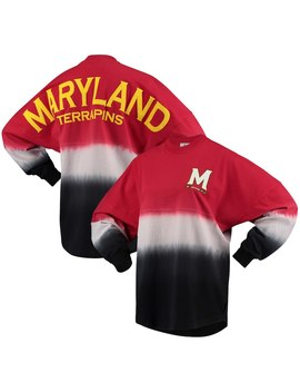 Maryland Terrapins Women's Ombre Spirit Jersey Long Sleeve T Shirt   Red/White by Spirit Jersey
