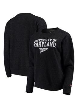 Maryland Terrapins League Women's Victory Springs Tri Blend Boyfriend Pullover Sweatshirt   Heathered Black by League Collegiate Wear