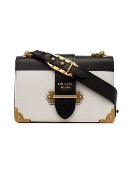 Black And White Cahier Leather Shoulder Bag by Prada