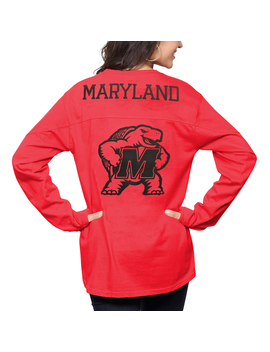 Maryland Terrapins Pressbox Women's The Big Shirt Oversized Long Sleeve T Shirt   Red by Pressbox