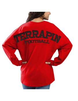 Maryland Terrapins Pressbox Women's Football Sweeper Long Sleeve Oversized Top   Red by Pressbox