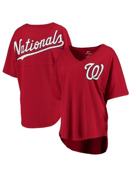 Washington Nationals Women's Oversized Spirit Jersey V Neck T Shirt   Red by Fanatics Branded
