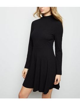 Black Ribbed High Neck Skater Dress by New Look