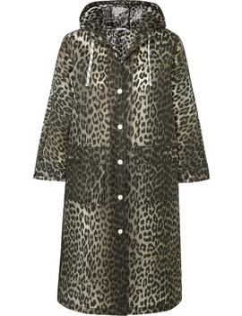 Leopard Print Matte Pu Coat by Ganni