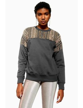 Crystal Embellished Sweatshirt by Topshop