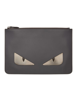 Grey Metal 'bag Bugs' Pouch by Fendi