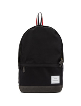 Black Unstructured Nylon Backpack by Thom Browne