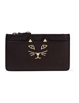 Feline Metallic Printed Textured Leather Coin Purse by Charlotte Olympia