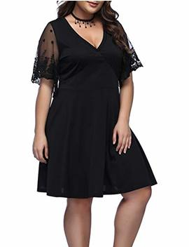 Lover Beauty Women's Plus Size Dress V Neck Evening Party Lace Formal Dresses by Lover Beauty