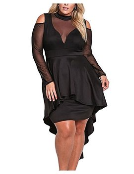 Xakalaka Women's Plus Size High Low Sexy Mesh Bodycon Mini Night Club Dress … by Xakalaka