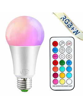 I Lc Colour Changing Light Bulb Dimmable 10 W E27 Edison Screw Rgbw Led Light Bulbs Colour Changing Lights, Mood Light Rgb White Coloured  Dual Memory   12 Color Choices   Remote Controller Included by I Lc