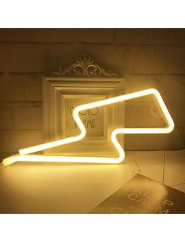 Qiao Fei Neon Light,Led Lightning Sign Shaped Decor Light,Wall Decor For Chistmas,Birthday Party,Kids Room, Living Room, Wedding Party Decor (Warm White) by Qiao Fei