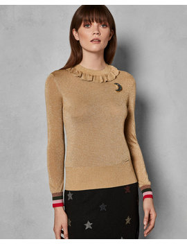 Lurex Knit Frill Neck Top by Ted Baker