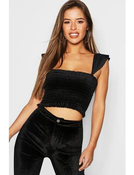 Petite Velvet Shirred Frill Sleeve Crop Top by Boohoo