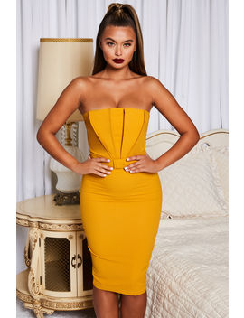 Making Waves Strapless Bandeau Belted Midi In Mustard by Oh Polly