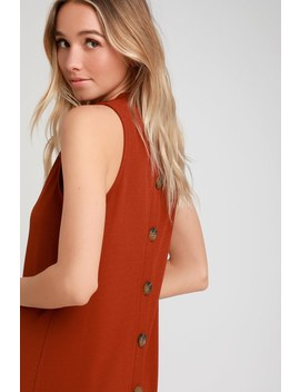 Tranquil Rust Orange Mock Neck Button Back Midi Dress by Lulus