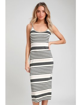 What's The Tea Charcoal Grey Striped Midi Bodycon Dress by Lulus