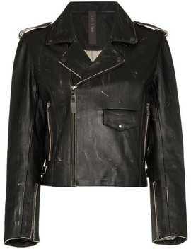 Zip Front Cropped Leather Biker Jacket by Lot Lthr