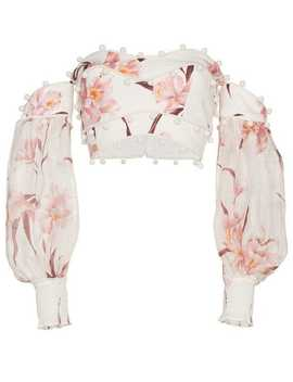 Corsage Bauble Floral Print Off Shoulder Linen Top by Zimmermann