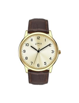 Limit Men's Gold Plated Brown Strap Watch by Argos