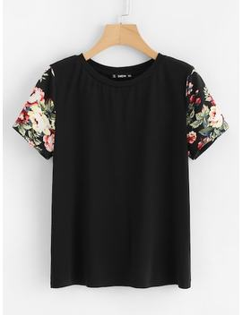 Floral Print Sleeve Tee by Shein