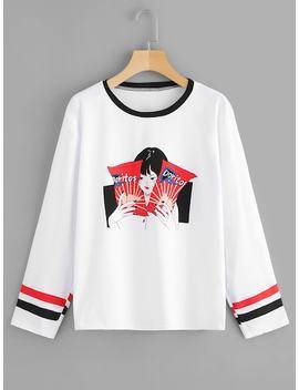 Cartoon Print Striped Side T Shirt by Sheinside