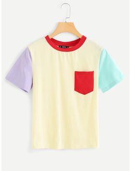 Pocket Front Color Block T Shirt by Shein