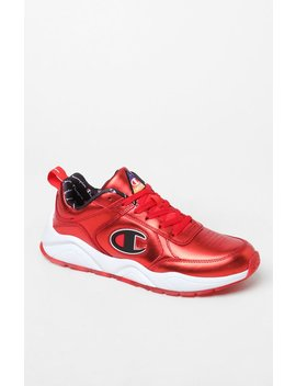 Champion 93 Eighteen Red Metallic Leather Shoes by Pacsun