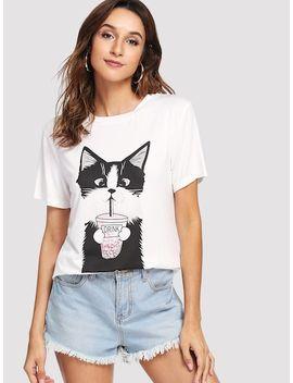 Cat Print Short Sleeve Tee by Shein