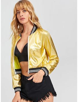 Contrast Striped Metallic Jacket by Sheinside
