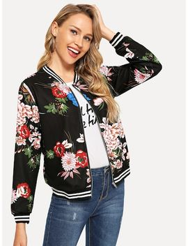 Flower Print Striped Trim Bomber Jacket by Shein
