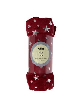 Wilko Star Foil Red Throw 125 X 150cm Wilko Star Foil Red Throw 125 X 150cm by Wilko