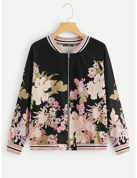 Zip Up Raglan Sleeve Floral Print Jacket by Shein
