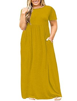 Nemidor Women Short Sleeve Loose Plain Casual Plus Size Long Maxi Dress With Pockets by Nemidor