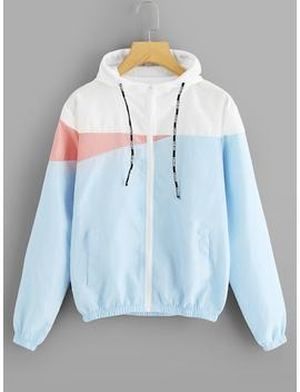 Color Block Zip Up Jacket by Sheinside
