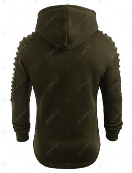 Solid Pleated Sleeve Patch Detail Long Fleece Hoodie by Gamiss
