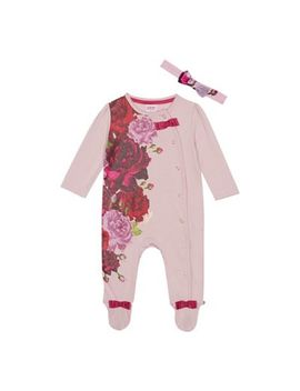 Baker By Ted Baker   Baby Girls' Pink Floral Sleepsuit And Headband by Baker By Ted Baker