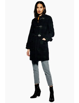 Checked Duffle Coat by Topshop