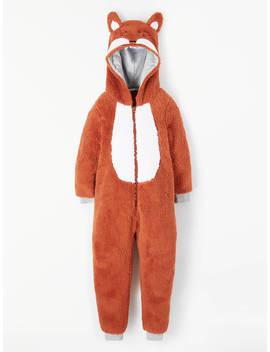 John Lewis & Partners Boys' Fox Fleece Onesie, Orange by John Lewis & Partners