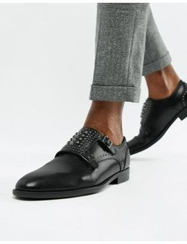 Asos Design Monk Shoes In Black Faux Leather With Studs by Asos Design