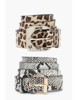 Faux Snake & Leopard Boyfriend Belt 2 Pack by Boohoo