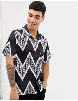Asos Design Oversized Monochrome Puppytooth Chevron Stripe Satin Shirt by Asos Design