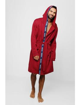 Jersey Fleece Hooded Robe With Man Taping by Boohoo