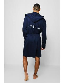 Jersey Fleece Hooded Man Embroidered Robe by Boohoo