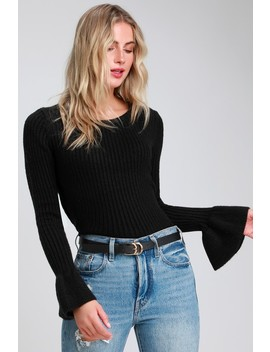 Kella Black Ribbed Flounce Sleeve Sweater Top by Lulus