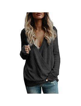 Nrealy New Women's Hoodie Knitted Deep V Neck Long Sleeve Wrap Front Loose Sweater Pullover Jumper by Nrealy