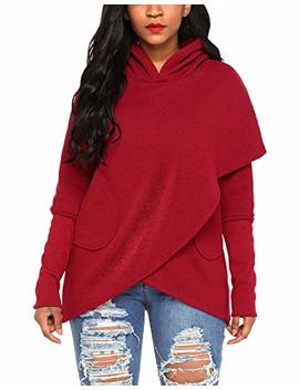 Asvivid Women's Long Sleeve Asymmetrical Hoodies Wrap Pullover Sweatshirt Coats With Pockets S Xxl by Asvivid