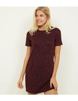 Red Leopard Print Jacquard Tunic Dress by New Look