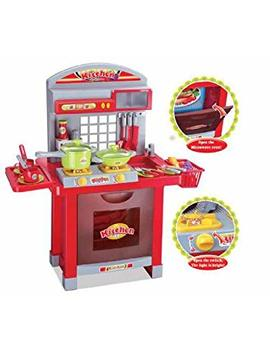 Childrens Toy Kitchen Set, Hob Lights Up And Makes Cooking Noises, With Over 29 Pieces Of Utensils Etc by Inside Out Toys